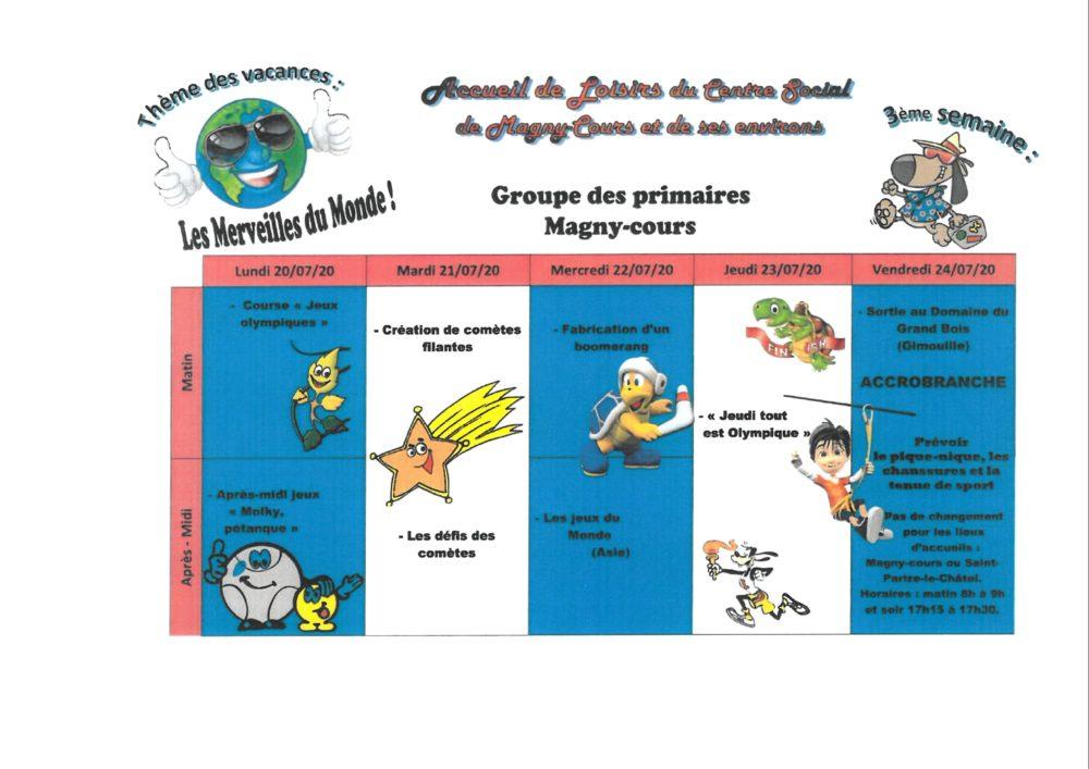 Primaire Magny Cours 3ème semaine ALSH
