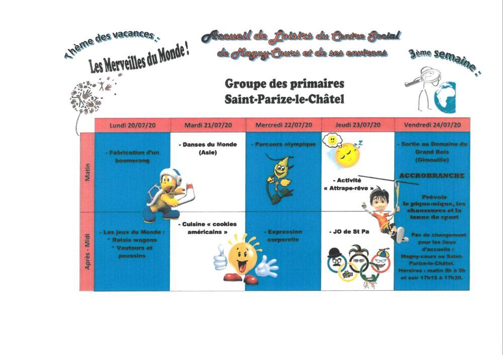 Primaire Saint Parize 3ème semaine