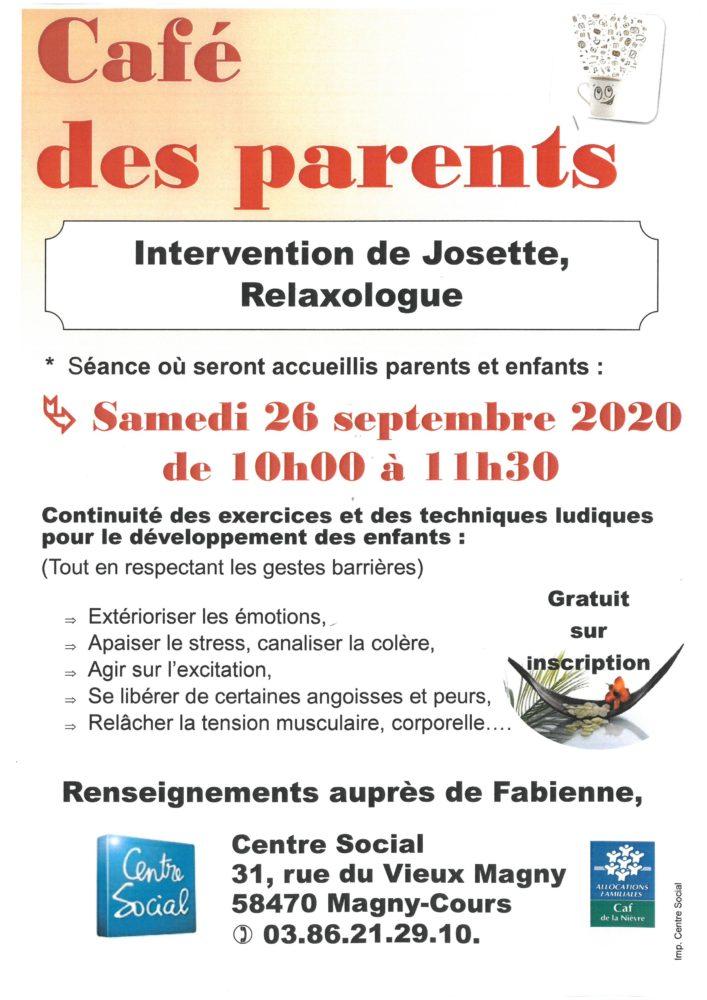 Café des parents samedi 26 septembre 2020